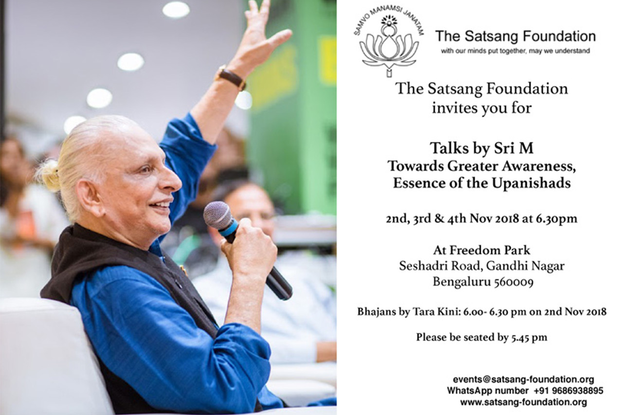 Sri M Talks Bangalore : Nov 2,3,4 – 2018